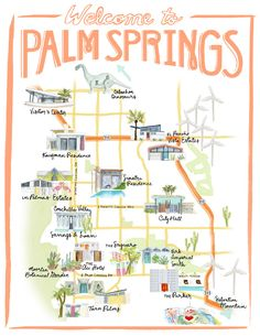 Palm Springs California Illustrated Travel Map print of watercolor illustration : Palm Springs, California Illustrated Travel Map - print of an original… Palm Springs Map, Palm Springs Style, Palm Springs Resorts, Travel Maps, Travel Usa, Travel Destinations, Paris Travel, Travel Posters, Palm Springs Kalifornien