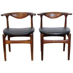 Pair of Danish Modern Teak and Leather Seat Chairs