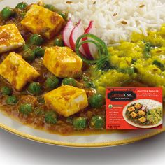 Gluten-Free Balanced Vegetarian Mutter Paneer with Dal Palak & Cumin Infused Basmati Rice: A delicious curry of peas and homemade-style cheese simmered with seasoned lentils and spinach served with delicate Basmati rice infused with cumin spices. Made with Olive Oil.