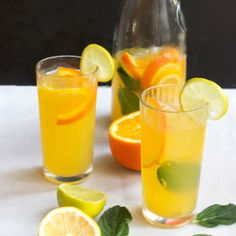 Passion fruit and citrus juice combined with sparkling wine, to create a refreshing passion fruit citrus sangria.