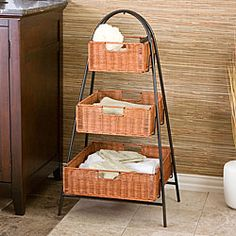 Kitchen Shelves With Baskets | Rattan 3 Tier Arced Storage Basket Shelf |  Overstock.com