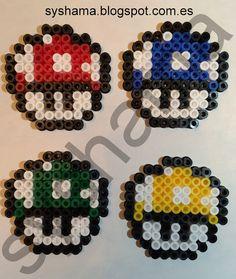 Setas mini Super Mario Bros hechas con Hama Beads MIDI. También hago otras figuras. Si estas interesado en otra en especial y quieres que la haga, contacta conmigo: syshama6@gmail.com