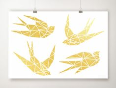 Gold Foil Bird Print, Gold Leaf Birds Art, Geometric Sparrow Artwork, Minimal Swallow Poster. A beautiful, simple, bird print done with genuine gold foil. This modern print is hand foiled, with real gold leaf sheets. Slight imperfections including tiny black flecks might be visible. This is a normal part of the foil printing process and not a defect in the print. This piece will be signed on the front, dated and titled on the back. Printed on smooth, 111 lb., fine art paper. You are...