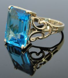 Large Filigree and Blue Topaz Ring over 7 carats by MSJewelers, $545.00
