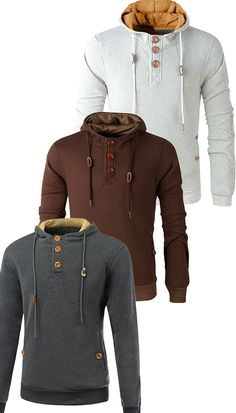 $25.59 Elbow Patch Long Sleeve Drawstring Pullover Hoodie