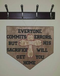 "Wooden Home Plate With Baseball Cross And Quote. Stained 1/2"" Birch Wood…"