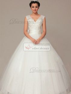 High Couture Lovely Ball Gown Tulle Floor-length Sashes #Wedding #Dresses #online $154.69