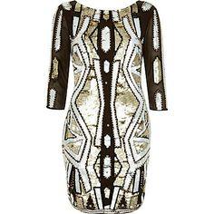 Khaki sequin embellished bodycon dress £100.00