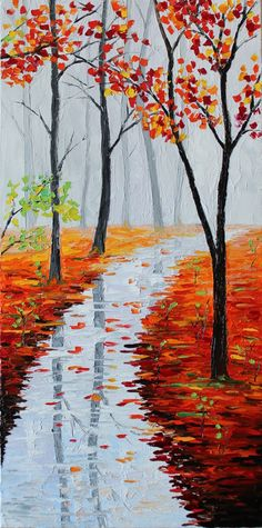 "ORIGINAL Oil Painting Modern Palette Knife Landscape - ENDLESS FOG 20""x 10""x 1 1/2"" on Etsy, $179.00"