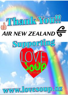 Heartfelt Thank You Air New Zealand donating Love Soup Return Flight Nationwide tickets.  We will be Auctioning off on Trade Me.   Winning bid amount will be shared Between our Love Soup Kitchens #Tokoroa, #Rotorua & #Whangarei  http://trade.me/lovesoupflights