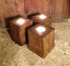 Reclaimed Wood Candle Holder Rustic Tealight by GFTWoodcraft