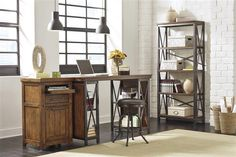 Shayneville Casual Dark Brown Metal PU Home Office Furniture Set