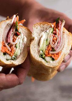 Showing the inside of Vietnamese Sandwich Baguette Tofu Sandwich, Baguette Sandwich, Banh Mi Sandwich, Sandwich Recipes, Vietnamese Sandwich, Vietnamese Recipes, Asian Recipes, Ethnic Recipes, Vietnamese Baguette Recipe