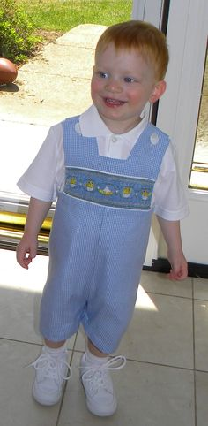 "Easter outfit.  Smocking plate ""Chicks"".  Hand pleated bringing blue checks to foreground"