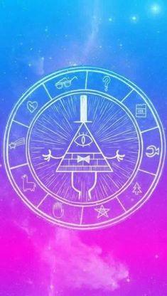 Símbolo Bill Cipher com cores dá Galáxia