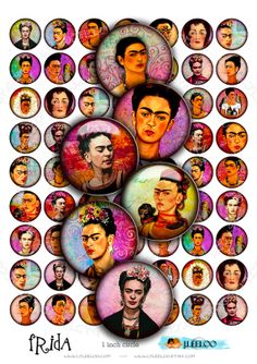 Instant Download - Digital image printable FRIDA  1 inch circles painting for jewelry pendants magnet bottlecups / t312