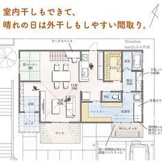 「madree(マドリー)は、プロの建築家・デザイナーに、自宅にいながらスマホやパソコンから間取り図の作成を依頼できるサービスです。気に入った間取りができたら、住宅会社も紹介してくれます。今回は「 室内干しができて、晴れの日は外干しもしやすい間取り。」をご紹介します。 Building Facade, Building A House, Dream Home Design, House Design, My House Plans, Architecture Plan, House Layouts, Home Goods, New Homes