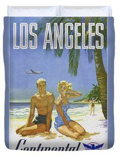 Vintage Los Angeles Travel Poster Duvet Cover, by Joy McKenzie, in several sizes, on Pixels.com #duvet #interiordesign #travel #LosAngeles