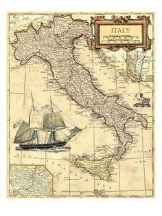 Italy Map Giclee Print at Art.com
