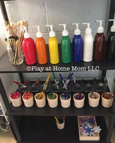 Dollar Tree (soap) Pump Paint Bottles I love the idea of separating the art mediums by color to improve ease of finding just the right color to use.