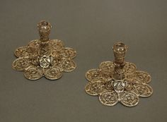 Pair of 17th Century Silver gilt filigree candlesticks Chatsworth House, Derbyshire. UK