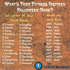 What is your Halloween - Inspired Fitness name?
