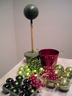 Christmas ball topiary tutorial - shows how to make the cone trees with ornaments