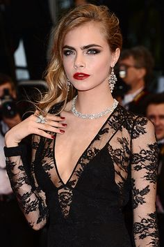 Cara at The Great Gatsby Cannes premiere remains one of our favorite beauty looks. She nails the Old-Hollywood waves, the classic smoky eye, and the requisite screen-siren red pout. P.S. We believe it's always chic to match your lipstick to your nails.