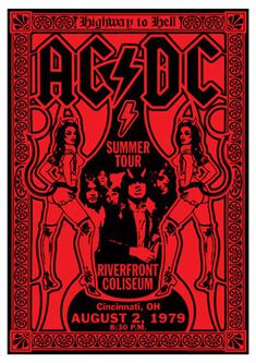 AC/DC - ACDC - ac dc - lot 5 different retro artistic concert posters.