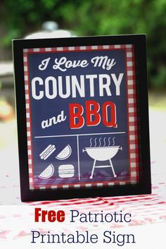 Patriotic free printable BBQ sign, perfect for Memorial Day or July 4th! | CatchMyParty.com