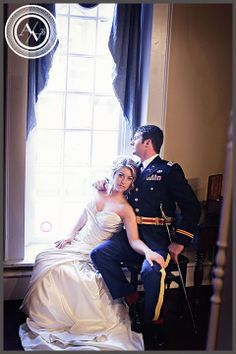 Wedding day portrait of bride and groom with photo by  Angela Anderson Photography in Louisville KY. Military Wedding.
