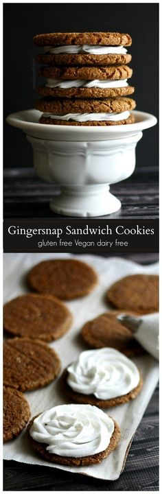 Gingersnap Cookies Sandwiches (gluten free vegan dairy free)- Crisp chewy gingersnap cookies filled with coconut cream that's light and fluffy.