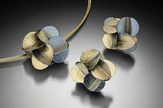 Bold Blossom set by Christine MacKellar: Gold and Silver Necklace available at www.artfulhome.com