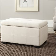 @Overstock - Stylish and functional, this white leather storage bench will be the perfect addition to any room. Measuring 17 inches high x 18 inches wide x 30 inches deep, this contemporary storage bench is perfect for hiding your books, games, toys, and more.http://www.overstock.com/Home-Garden/Maiden-Tufted-Beige-Linen-Small-Indoor-Storage-Bench/5692762/product.html?CID=214117 $201.99