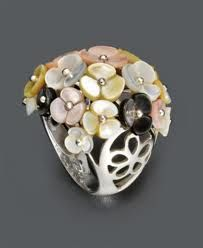 Pearl Ring, Sterling Silver Cultured Mother of Pearl Flower (6-10 mm)