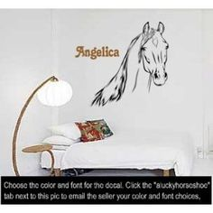 Horse personalized wall decal--Big 39 X 42 inch sticker--sold by aluckyhorseshoe by aluckyhorseshoe, http://www.amazon.com/dp/B005RIPQUO/ref=cm_sw_r_pi_dp_Qanvsb0YD8JN1
