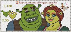 Bom dia bordadeiras!  Com atraso mais eu trouxe o monograma do Ogro Shrek que prometi para combinar com os novos gráficos da fada Carina Cas...