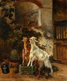 Giuseppe Palizzi - Goats Grazing on a Rose Bush