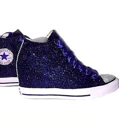 Womens Navy Blue Glitter Converse All Stars high top Wedge Heel wedding  bride bridal shoes www 5fd8d6b8620e