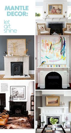 Wish I could isolate the mantel with the pretty watercolors and parrot with colored votive glasses in a line!