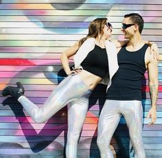 There are lots of awesome graffiti murals in downtown Los Angeles. Every street you turn down, you can see a new artists flavor. This location was one of our favorites. Patterned Leggings, Cotton Leggings, Women's Leggings, Leggings Are Not Pants, Silver Leggings, Dance Pants, Rave Wear, Rave Outfits, Festival Fashion