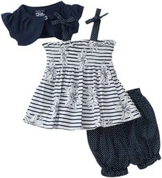 So La Vita Baby-girls Infant Smocked Stripe Dress with Shrug