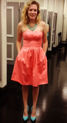 Coral and teal!! David's Bridal dress and Forever 21 accessories!