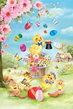 Chick Magic Easter Garden Flag Eggs Butterfly Spring Floral Decorative x This garden flag features chicks gathered around watching a magic show with Easter Eggs. Easter Peeps, Easter Art, Easter Chick, Easter Illustration, Easter Backgrounds, Easter Garden, Easter Banner, Garden Decor Items, Easter Celebration