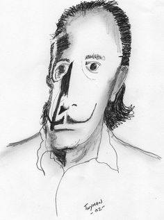 Salvador Dali portrait I drew while looking at an image of Dali in a Dali book http://fineartamerica.com/products/dali-dan-twyman-framed-print.html
