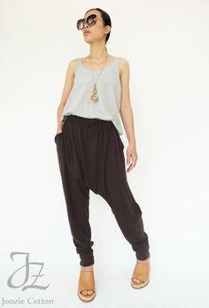 e7a468607a0 NO.192 Dark Brown Cotton-Blend Jersey Harem Pants by JoozieCotton Harem  Pants