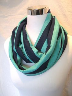 Navy and Teal Green Stripe Jersey Knit Infinity Scarf - ChevronScarf on Etsy, $17.00