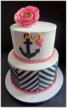 Navy and Pink Nautical Cake
