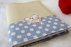 A5 embroidered heart fabric notebook cover - with A5 notebook