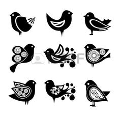 Set of cartoon doodle birds icons Stock Vector